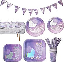 Qhome Mermaid Party Tableware Kit - 71 PCS Purple