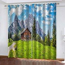 QHZSFF Blackout Curtains 2 Panels Set Cabin