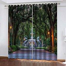 QHZSFF Blackout Curtains 2 Panels Set garden