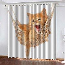 QHZSFF Blackout Curtains 3D Animal cat size:W280 x