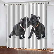 QHZSFF Blackout Curtains 3D Animal puppy size:W280