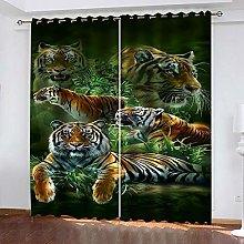 QHZSFF Blackout Curtains 3D Animal tiger size:W280