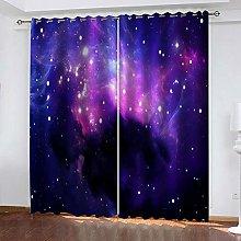QHZSFF Blackout Curtains 3D Blue starry sky