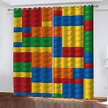 QHZSFF Blackout Curtains 3D Color building blocks