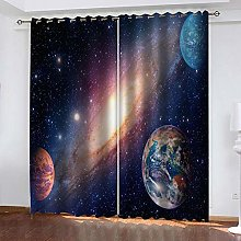 QHZSFF Blackout Curtains 3D Color starry sky