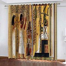 QHZSFF Blackout Curtains 3D Egyptian fresco