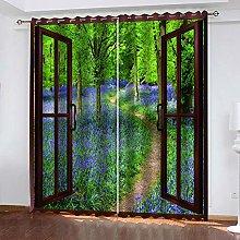 QHZSFF Blackout Curtains 3D garden size:W280 x