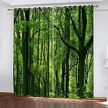 QHZSFF Blackout Curtains 3D Green woods size:W280