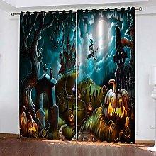QHZSFF Blackout Curtains 3D Halloween size:W280 x