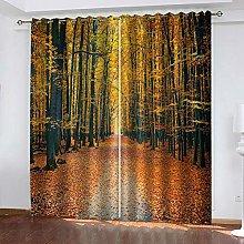 QHZSFF Blackout Curtains 3D Maple Forest size:W280