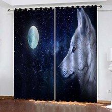 QHZSFF Blackout Curtains 3D Moon night wolf