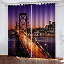 QHZSFF Blackout Curtains 3D Night view bridge