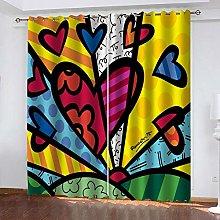 QHZSFF Blackout Curtains 3D Painted art size:W280