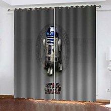 QHZSFF Blackout Curtains 3D robot size:W280 x