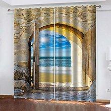 QHZSFF Blackout Curtains 3D Sea view size:W280 x