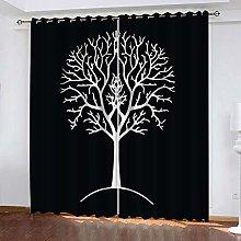 QHZSFF Blackout Curtains 3D Simple tree size:W280
