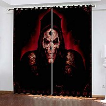 QHZSFF Blackout Curtains 3D Skeleton size:W280 x