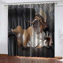 QHZSFF Blackout Curtains 3D Social dog size:W280 x