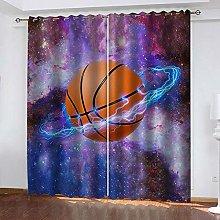 QHZSFF Blackout Curtains 3D Star Basketball