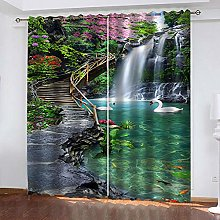 QHZSFF Blackout Curtains 3D Swan Lake size:W280 x