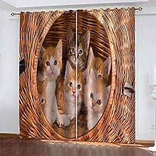 QHZSFF Blackout curtains for kids Animal cat