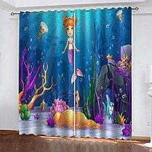 QHZSFF Blackout curtains for kids Cartoon mermaid