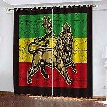 QHZSFF Blackout curtains for kids Lion size:W150 x