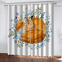 QHZSFF Blackout curtains for kids Painted Fox