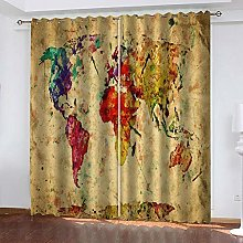 QHZSFF Blackout curtains for kids Painted map