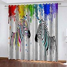 QHZSFF Blackout curtains for kids Painted Zebra