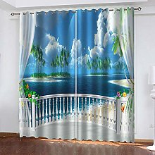 QHZSFF Blackout curtains for kids Small island on