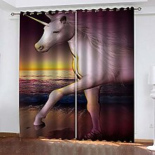 QHZSFF Blackout curtains for kids White unicorn