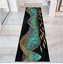QianDa Black Path Runner Rug For Hallway, 3D Entry