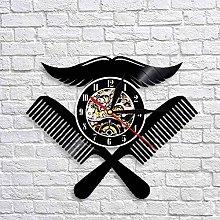 QIANGTOU Barber Shop Logo Wall Clock Hairdressing