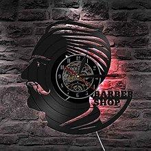 QIANGTOU Barber Shop Vinyl Record Clock Barber