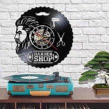 QIANGTOU Barber Shop Wall Decor Vinyl Record Clock