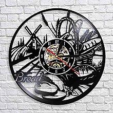 QIANGTOU Bread Wheat Wall Art Wall Clock Bakery