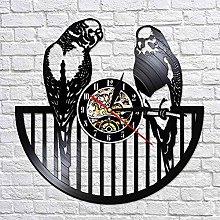 QIANGTOU Budgie Bird Wall Clock Modern Animal