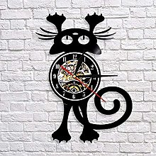 QIANGTOU Cat Wall Clock For Pet Owners Funny