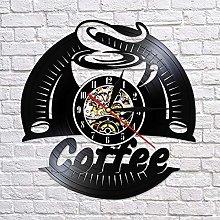 QIANGTOU Coffee Vinyl Record Wall Clock Modern