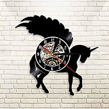 QIANGTOU Glitter Wall Art Silhouette Wall Clock