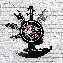 QIANGTOU Guitar Vinyl Record Wall Clock Musical