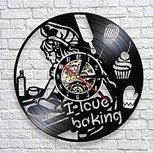 QIANGTOU I Love Baking Quote Wall Clock Decorative