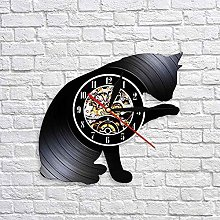 QIANGTOU I Love Cat Vinyl Custom Wall Clock