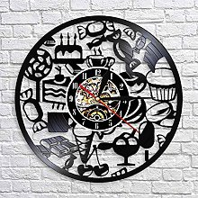 QIANGTOU Ice Cream Wall Clock Vinyl Record Clock