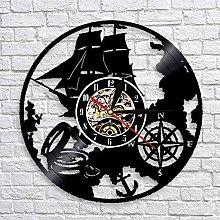 QIANGTOU Navigation Theme Vinyl Record Wall Clock