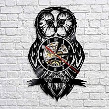 QIANGTOU Owl Artwork Vinyl Record Wall Clock Owl