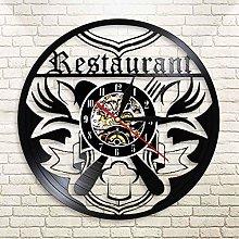 QIANGTOU Restaurant Business Sign Wall Art Clock