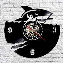 QIANGTOU Shark Vinyl Record Wall Clock Shark Great