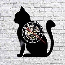 QIANGTOU Sitting Cat Silhouette Wall Clock Cat